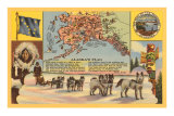 Alaska Map with Sled Dogs Posters