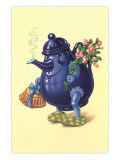 Purple Tea Pot with Arms and Legs Prints