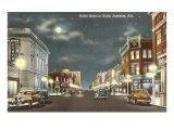 Downtown at Night, Anniston, Alabama Prints