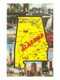 Alabama Map and Scenes Prints