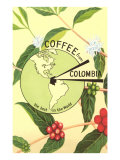 Coffee from Colombia, Map, Berries Prints