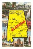 Alabama State Map Art Print