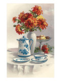 Coffee Pot with Chyrsanthemums Art