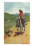 Painting of Galloping Cowgirl Print