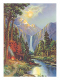 Camping by a Mountain Stream Art