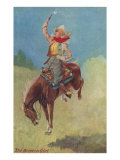 Cowgirl on Bucking Horse Painting Prints