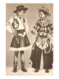 Little Cowboy and Cowgirl in Outfits Posters