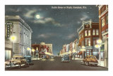 Downtown at Night, Anniston, Alabama Poster