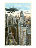 Future New York with Airships Reprodukcje