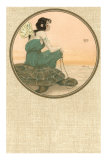Girl with Tortoise, Art Nouveau Posters