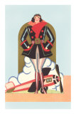 Art Deco Lady Pilot and Airplane Print