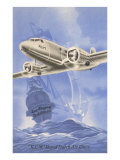 Flying Dutchman Ship with Klm Plane Poster