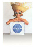 Woman with Big Sunglasses, Straw Hat and Pan Am Bag Prints