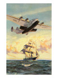 Airplane and Full-Rigged Clipper Ship Posters