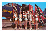 Bathing Beauties with Flags and Blue Angel Jet Photo
