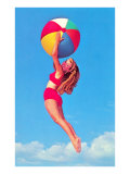 Jumping Woman with Beach Ball Posters