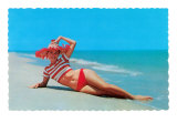 Woman in Red and White Bathing Suit and Hat Posters