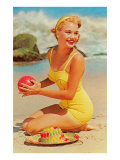 Woman in Yellow Bathing Suit with Ball Art