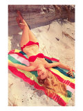 Blonde in Bikini on Beach Towel Poster