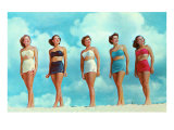 Five Women in Two-Piece Bathing Suits Prints