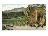 Vineyard with Horse-Drawn Cart Photo