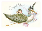 Congratulations, Stork and Baby Cartoon Prints