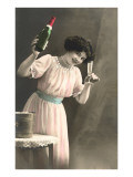 Woman Toasting with Champagne Flute Poster