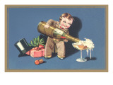 Little Boy with Big Champagne Bottle Art