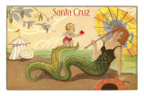 Mermaid with Parasol, Santa Cruz, California Posters