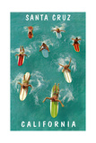 Surfers from Above, Santa Cruz, California Prints