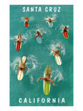 Surfers from Above, Santa Cruz, California Poster