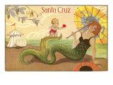 Mermaid with Parasol, Santa Cruz, California Print