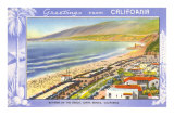 Greetings from California, Santa Monica Beach Print