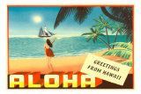 Greetings from Hawaii, Hula Girl on Beach Prints