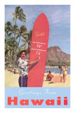 Greetings from Hawaii, Surfboard with Temperature Photo