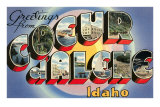 Greetings from Coeur d&#39;Alene, Idaho Poster