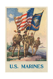 US Marines - Soldiers on Shore with US and Marine Flags Photo