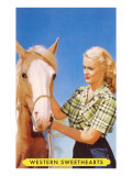 Blonde Cowgirl with Palomino Prints
