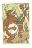 Chimp Playing Banjo Posters