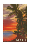 Sunset, Maui, Hawaii Poster
