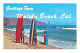 Greetings from Malibu Beach, California, Surfers Poster