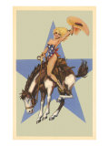 Woman in Star Bathing Suit on Bucking Bronco Prints
