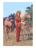 Palomino and Colt with Cowgirl in Red Prints