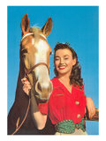 Smiling Cowgirl with Horse Posters
