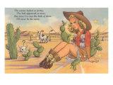 Cartoon Cowgirl on Cactus Art