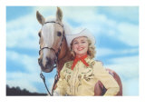 Cowgirl with Palomina Poster