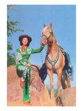 Cowgirl in Green Outfit with Palomino Prints