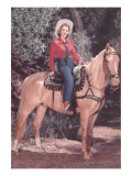 Cowgirl Riding Palomino Posters