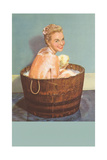 Soapy Blonde in Barrel Tub Posters