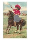 Cowgirl on Horse Firing Pistol Prints